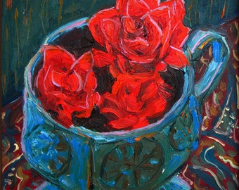 Art, Still Life, Red Flowers, Oil Painting, , Azaleas in Turquoise Pottery, Fine Art, 6 x 6 Inch, Framed, Ready to Hang