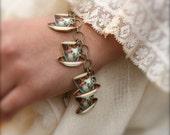 Color Teacup Charm Bracelet - Teacup Jewelry - Tea Party - Vintage Teacup Print -Shrink Plastic-Charm Bracelet-Alice in Wonderland Jewelry