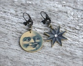 Moon and Stars Earrings - Celestial Jewelry - Celestial Earrings - Star Jewelry - Moon Jewelry - Rhinestone Jewelry - Dangle Earrings