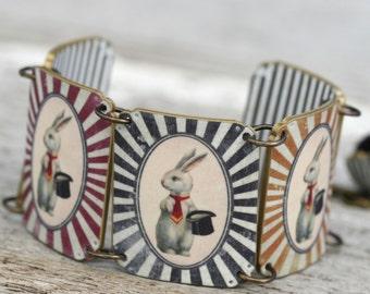 Circus Bunny Bracelet - Bunny Bracelet - Circus Bracelet - Bunny Jewelry - Circus Jewelry - Circus - Bunny - Bunny Top Hat - Shrink Plastic