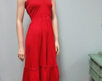 Vintage Red Dress, Sundress, 70s Tube Top, Cotton Knit, Ruffle hem, Large