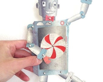 Retro Robot Printable PDF Paper Doll Set for  Birthday, Blue, Gray, Orange, Paper Toy
