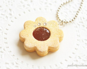 Cookie Flower Jewelry - Cookie Necklace - Strawberry Jam Sugar Cookie Necklace - Gift For Her