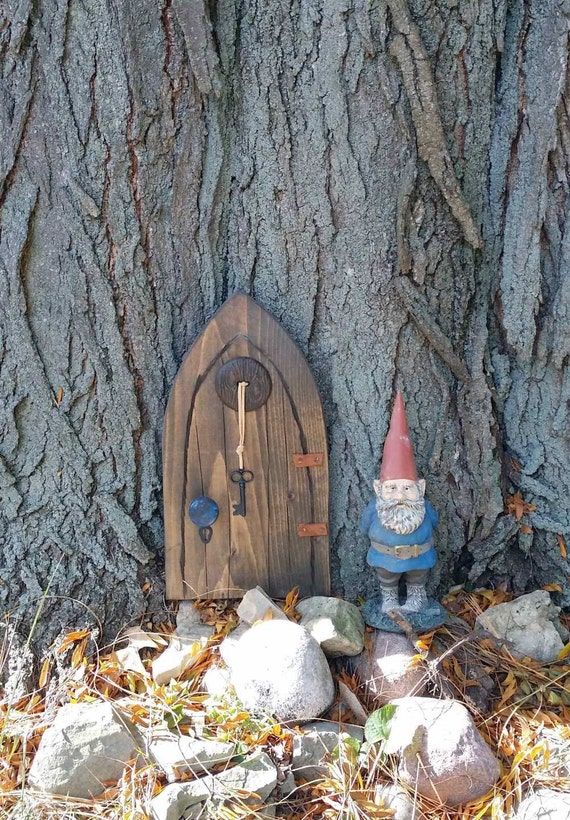 Handmade magical wood fairy gnome tree door with by anawhotwo for Fairy door with key