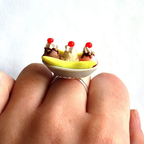 Ice Cream Ring Banana Split Ring Ice Cream Shoppe Candy Shoppe Kawaii Ring Kawaii Jewelry Polymer Clay Miniature Food Jewelry