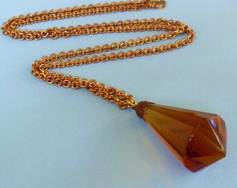 Topaz Glass Prism Antique Pendant Necklace
