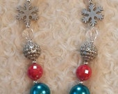 Christmas Bubblegum Chunky Necklace with a Skulpey Silver Cupcake with Candy Canes Cupcake and Silver Snowflakes