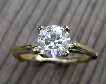 Moissanite Branch Engagement Ring: Yellow, Rose, or White Gold; 1ct Forever One ™