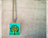 Scrabble Tile Art Pendant -Tree Of Life Turquoise - Scrabble Jewelry Charm - Customize - Choose Your Style