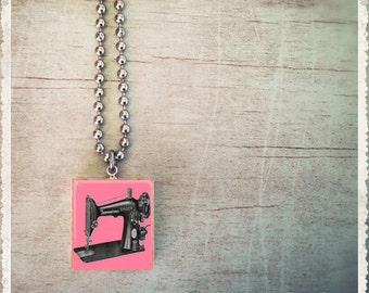 Scrabble Game Tile Jewelry - Vintage Sewing Machine Pink - Scrabble Pendant Charm - Customize