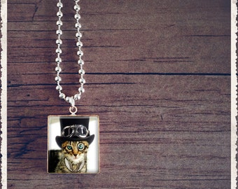 Scrabble Tile Art Pendant - Steampunk Kitty Cat - Scrabble Jewelry Charm - Customize - Choose Your Style