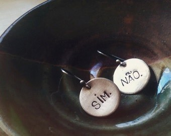 SALE: Words - Yes / No (made to order - you pick your language) - Earrings
