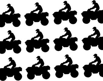 "Twelve ATV Quad Vinyl decals stickers, boys birthday party, 4 wheeler,  3.5"" X 3.5"