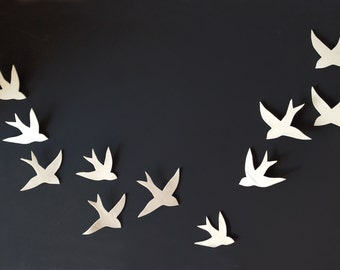 Flock - 11 Porcelain ceramic wall art swallows Bird wall sculpture Modern minimalist wall hanging wall sculpture Set of 11 READY TO SHIP