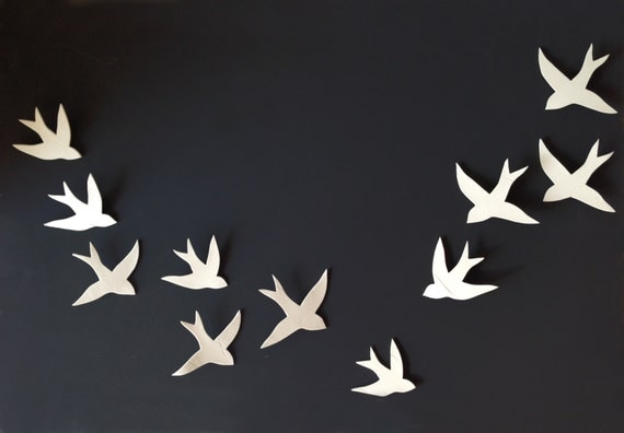 Flock - 11 Porcelain ceramic wall art swallows Bird wall sculpture Modern minimalist wall hanging wall sculpture Set of 11 MADE TO ORDER