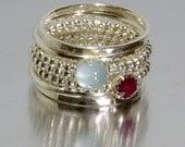 Aquamarine & Ruby Stacking Mothers rings, Personalized Rings - Birthstone Rings, Gemstone Rings, March birthstone ring, July birthstone ring