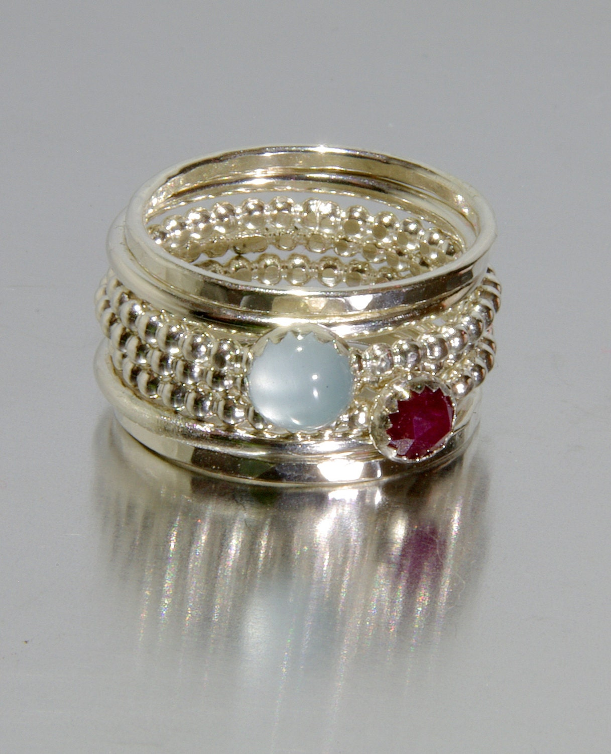 Aquamarine & Ruby Stacking Mothers Rings By Nadinejewelry. Amethyst Lockets. 300 Dollar Engagement Rings. Gem Stone Bracelet. Code Rings
