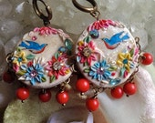 Lilygrace Ivory and Pastel Bird Floral Cameo Earrings with Coral Beads and Vintage Rhinestones