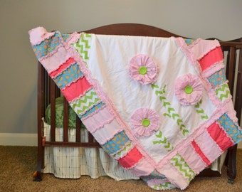 Baby Girl Crib Bedding- Girl RAG QUILT with Ruffled Flower in Pink, Turquoise, Green- Toddler Girl Bedding, Made to order - Toddler Girl Bed