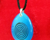 Carved and Painted Glass Pendant - Blue Spiral