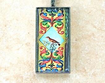 Art Deco Mosaic Bird Art Glass Pendant Long Chain