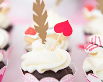 Valentine's Day Cupid's Arrow cupcake toppers - set of 12