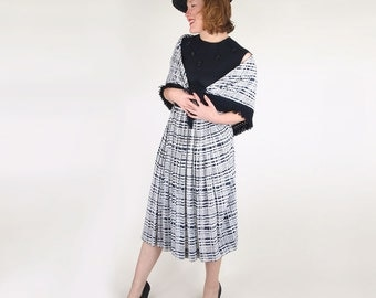 SALE 40s Navy & White Rayon Dress with Fringed Shawl by Carlye S