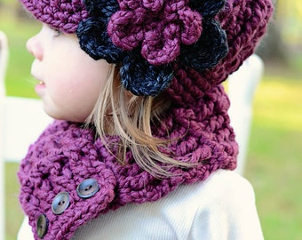 Toddler Hat 2T to 4T Toddler Girl Hat Flower Beanie Purple Plum Charcoal Purple Toddler Hat Toddler Girl Clothes Crochet Winter Hat Knit