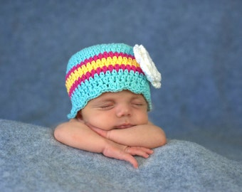 Baby Girl Hat 0 to 3 Month Aqua Blue Baby Hat Aqua Baby Hat Baby Girl Clothes Baby Girl Gift Hot Pink Yellow Crochet Flower Hat Photo Prop