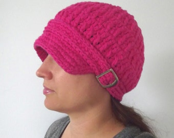 Womens Newsboy Hat Hot Pink Newsboy Cap Womens Hat Crochet Newsboy Knit Cotton Newsboy Electric Pink Bright Pink Spring Hat Silver Buckle