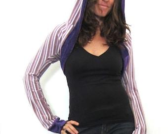 ON SALE - Purple Velour Funk Sleeves w/Hoodie - Lavender Shrug, Yoga, Dance