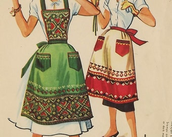 Vintage 50's Sewing Pattern with Transfer, Ladies Apron