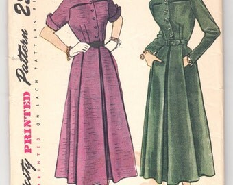 """Vintage Sewing Pattern Ladies' Dress Simplicity 3004 30"""" Bust Size 12 - Free Pattern Grading E-book Included"""