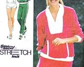 Womens Sportswear Pattern Simplicity 9041 Knit Shorts Sweatpants Shawl Collar Sweatshirt 1970s Vintage Sewing Pattern B30 1/2 - 32 1/2