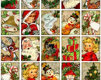 "RETRO HOLIDAY - Digital Printable Collage Sheet - Vintage Christmas Holiday Santa, Rudolph, Snowmen & Angels, 1.5"" x 2"" Matchbox Size"
