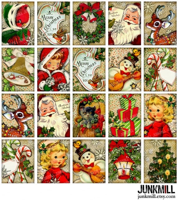 "RETRO HOLIDAY - Digital Printable Collage Sheet - Vintage Christmas Holiday Santa, Rudolph, Snowmen & Angels, 1.5"" x 2"", Instant Download"