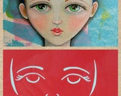 STENCIL Original face stencil Sweet Face - use in your mixed media work - reversible & reusable Art Stencil