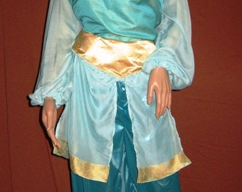 Custom Made Modest Adult Princess Jasmine Aqua and Gold 2pc Top and Pants
