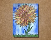 Zentangle Style Sunflower Original Watercolor Painting Ink Drawing 11x14