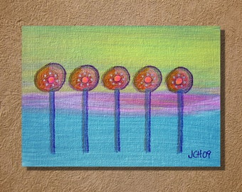 Lollipop Trees Original Acrylic Painting on Canvas Panel 5x7