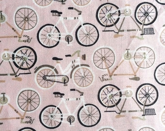 Pink Bicycles Cotton Fabric // 1canoe2