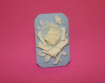 Large Blue Square Rose Cameo Ring