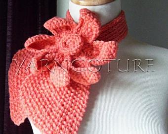 Vintage Inspired Ascot Necktie LOTUS Flower Design/Coral-Peach Color
