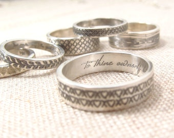 Jewelry - Personalized Ring  - Custom Name Jewelry - Patterned Secret Message Ring -  Posey Ring  - Engraved Ring