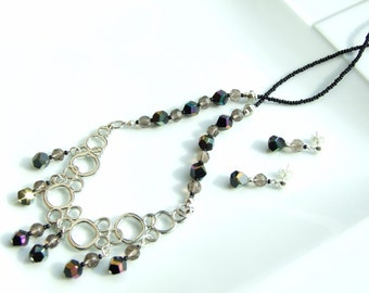 Black Jewellery SET - Black & Silver Abstract Bubbles Focal Pendant Necklace and Earrings