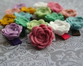 Itty Bitty Felt Rosette Clip - Wool Felt Flower on a Mini Snap Clip - You PICK COLOR