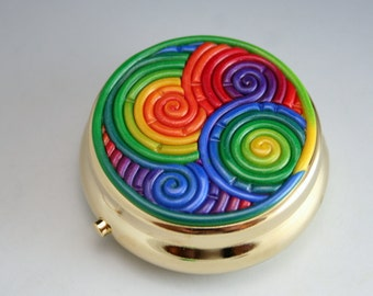 Rainbow Pill Box in Polymer Clay Filigree (Gold Plated)