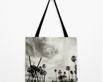 tote bag, black and white, gray accessory, Venice Beach photo, palm trees, photography, school bag, travel bag, office tote, market tote