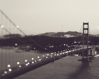 black and white San Francisco photography, Golden Gate bridge at night print, gray silver, cityscape, landscape, modern decor, California