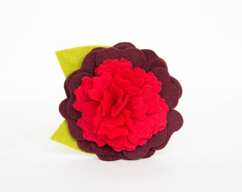 Dog Collar Flower - Valentine's Day Red Camellia